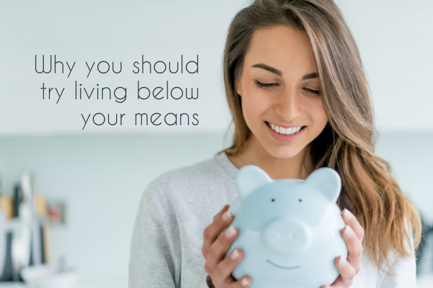 woman with blue piggy bank