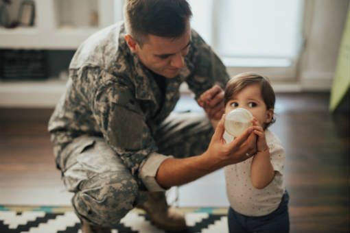 Military veteran and child