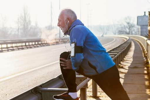 Older man getting ready to jog
