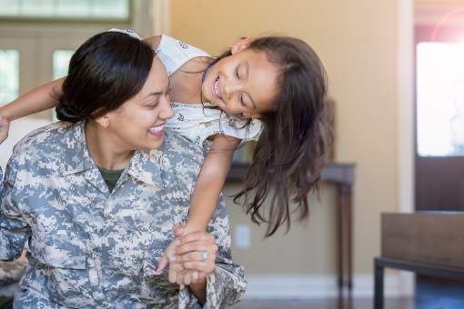 Military mother with her daughter
