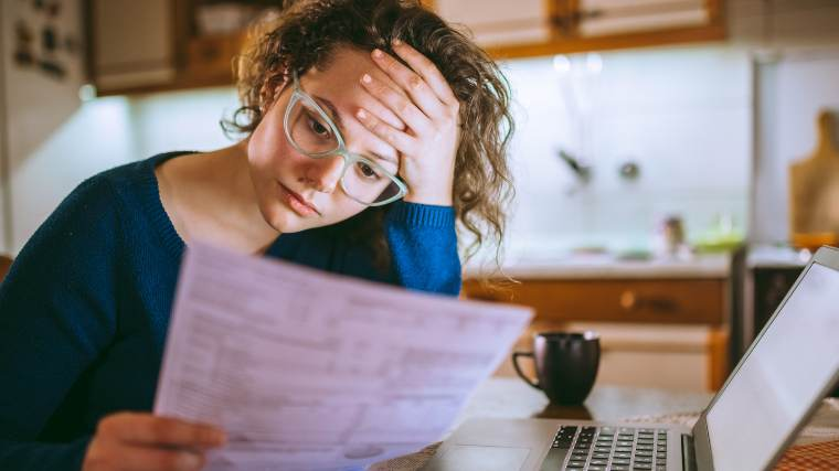 concerned woman doing research online