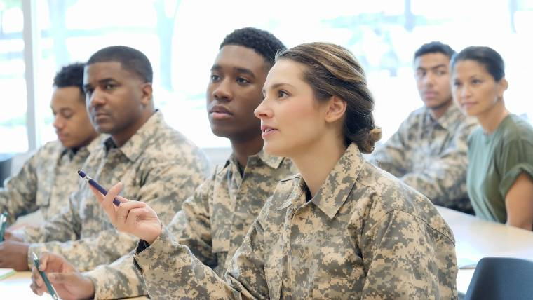 military students attending class