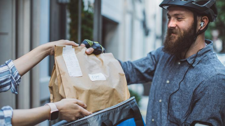 Man delivering food to customer