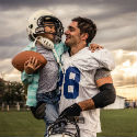 Football player and son