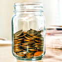 Jar filled with pennies
