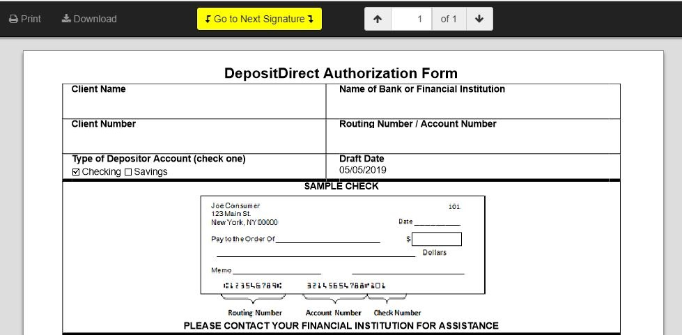 MMI instruction page screenshot - signing the ACH form