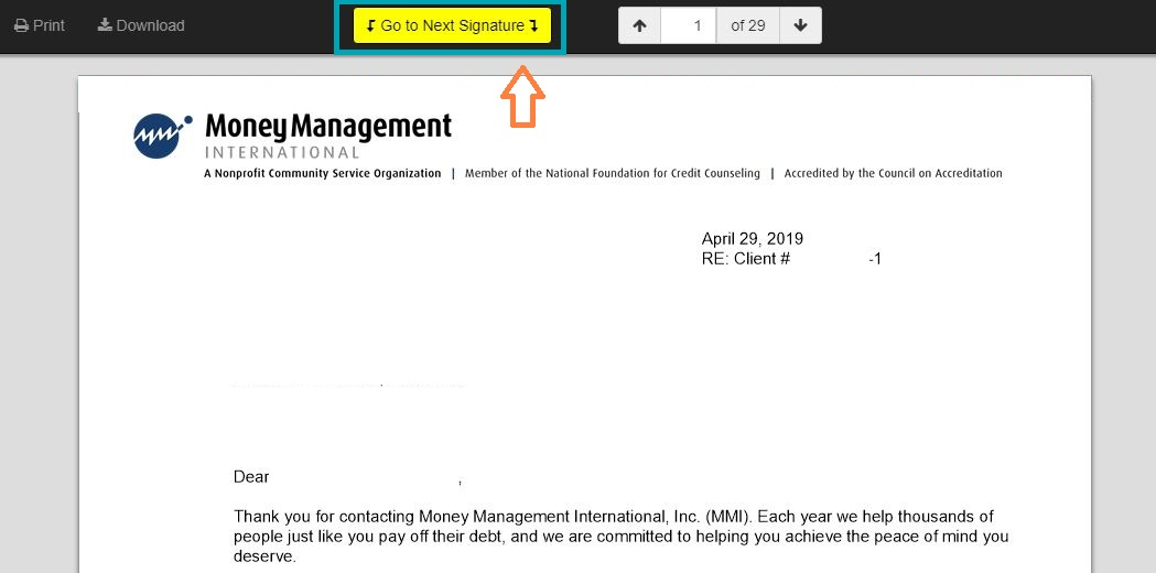 MMI instruction page screenshot - document signature button