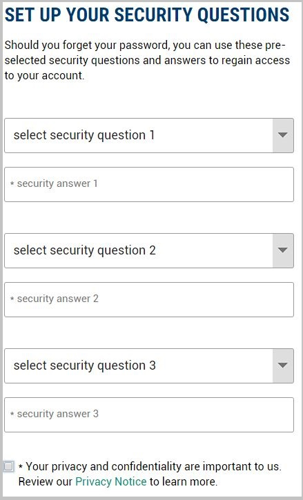 MMI instruction page screenshot - security questions
