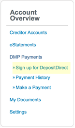 "Screenshot: ""Sign up for DepositDirect"" link"